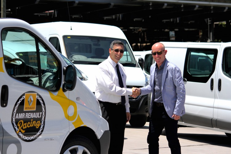 A vey happy team director receives the keys to the 2015 team cars from Luigi at AMR Renault.