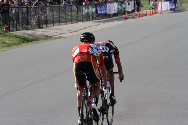 Dylan drives the initial breakaway on Stage 4 of the National Capital Tour. He was only caught in the final 500m.