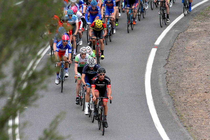 Matt leads the bunch up the KOM on Stage 2 of the National Capital Tour.